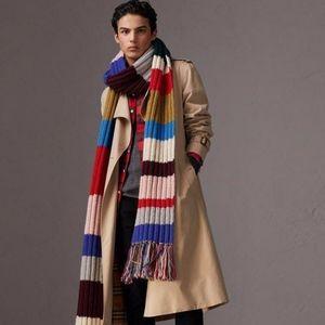 Burberry very long striped chunky wool scarf NWT